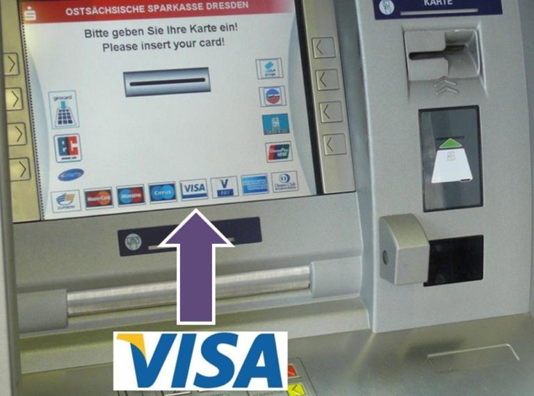 Consorsbank Geld abheben Geldautomat mit Visa-Symbol