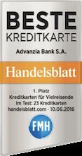 Beste Kreditkarte Auszeichnung Advanzia Bank