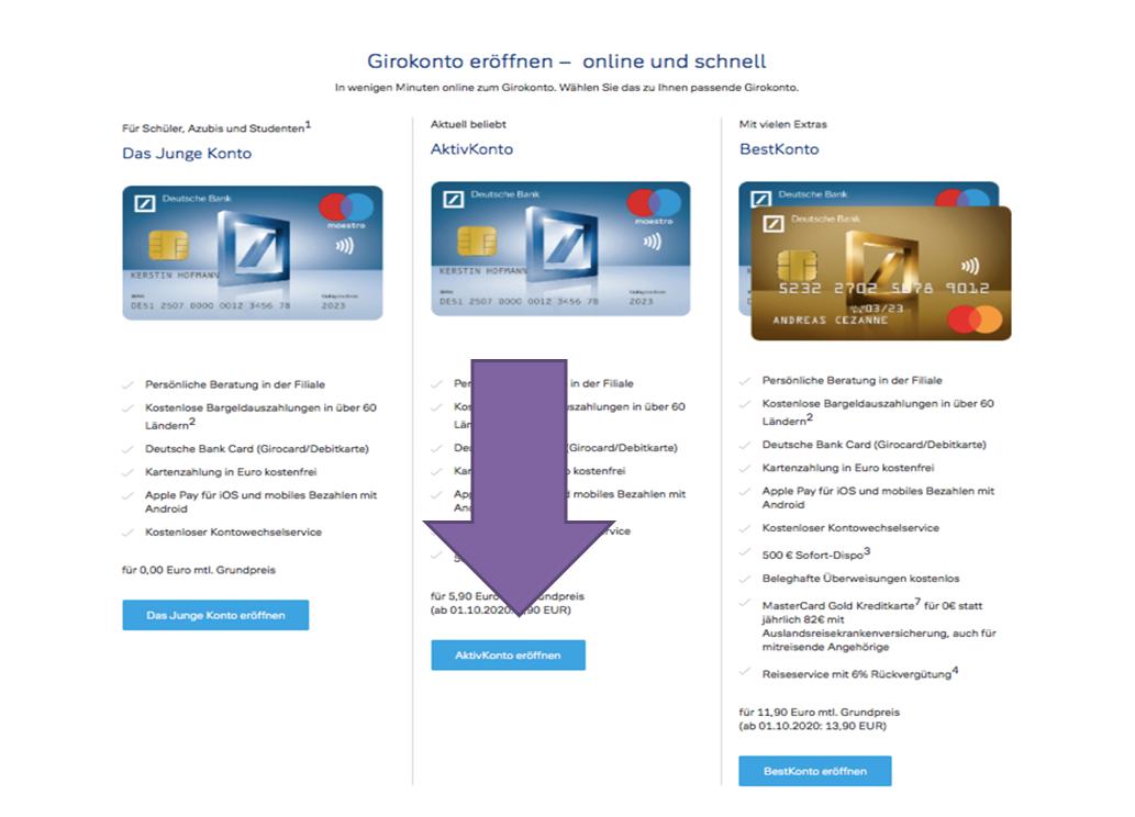 Deutsche Bank Unterkonto eröffnen Schritt 1