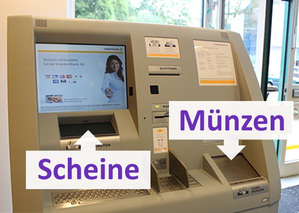 Sparkasse Geld wechseln am Einzahlungsautomaten der Commerzbank