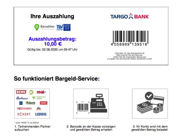 Targobank Geld abheben in Geschäften und Supermärkten