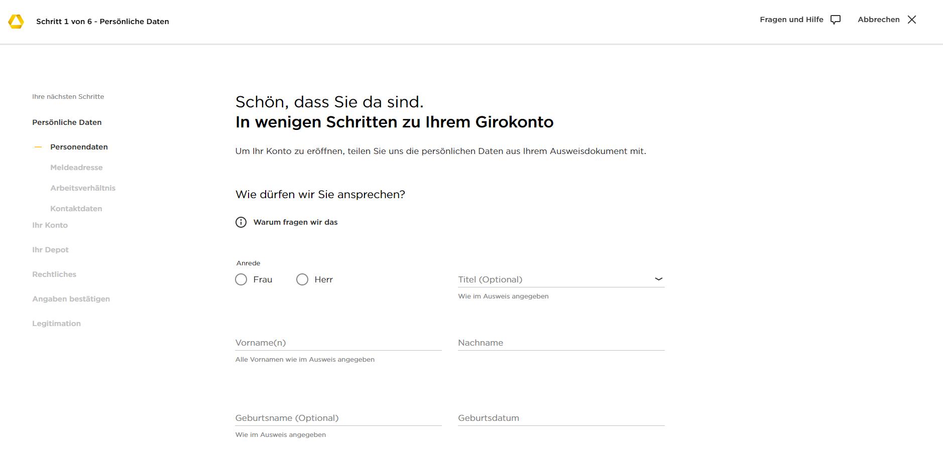 Commerzbank zweites Konto beantragen Schritt 2