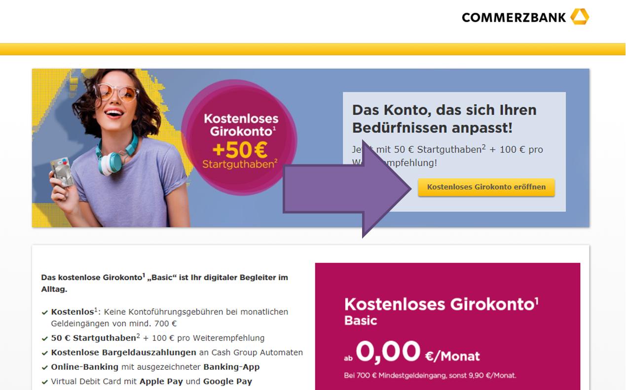 Commerzbank zweites Konto eröffnen Schritt 1