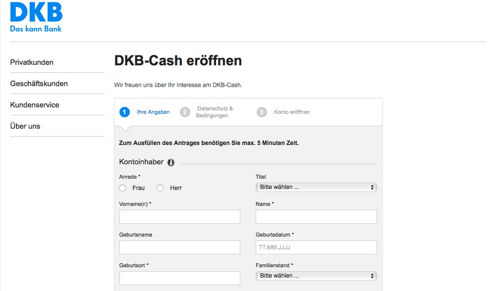 DKB Unterkonto Daten eintragen