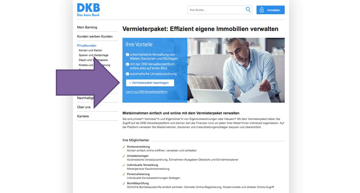 Neukunde DKB Vermieterpaket beantragen