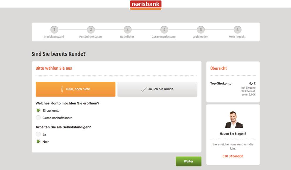 Norisbank Unterkonto Einzelkonto oder Gemeinschaftskonto wählen